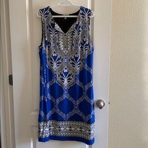 JM Collection shift dress blue print